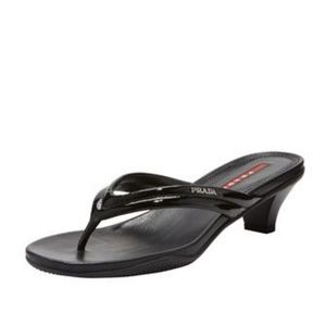 Prada > Black Patent Low-Heel Thong Sandal